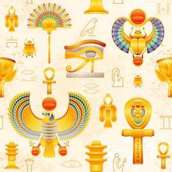 Ancient egypt seamless pattern.  egyptian pharaoh  symbol background. ra sun scarab, horus falcon wadjet eye, isis tyet knot, coptic ankh, fan, lotus, osiris djed pillar.