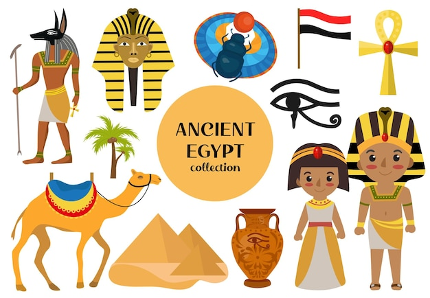 Ancient egypt set objects clip art. collection design elements witch sorrow beetles, pharaoh, pyramid, ankh, anubis, camel, antique hieroglyph. isolated on white background. vector illustration.