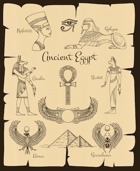 Ancient egypt symbols. sphinx and nefertiti, horus and scarabaeus, traditional religion, vector illustration