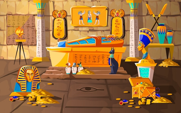 Ancient egypt tomb of pharaoh cartoon