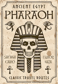 Ancient egypt travel advertising poster in vintage style with pharaoh skull