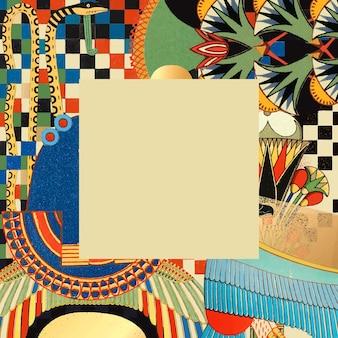 Antica illustrazione di cornice egiziana, remixata da opere d'arte di pubblico dominio
