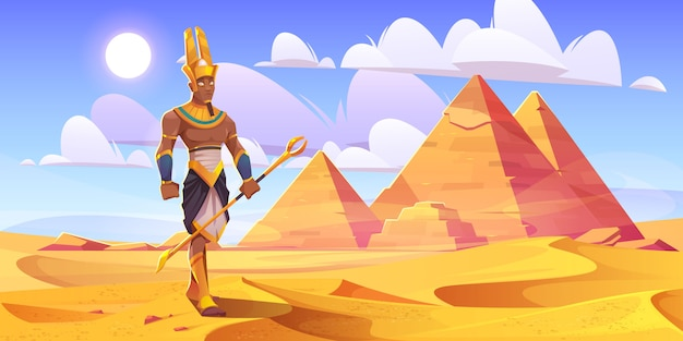 Ancient egyptian god amun in desert with pyramids