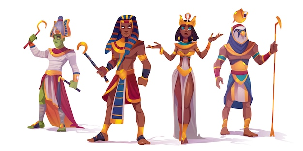 Ancient egyptian god amun, osiris, pharaoh and cleopatra. vector cartoon characters of egypt mythology, king and queen, god with falcon head, horus and amon ra