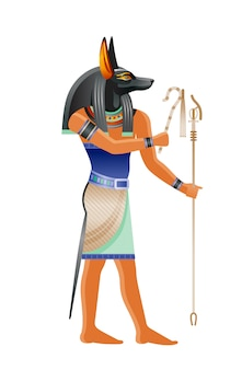 Ancient egyptian god anubis. deity with canine head. cartoon illustration in old art style.