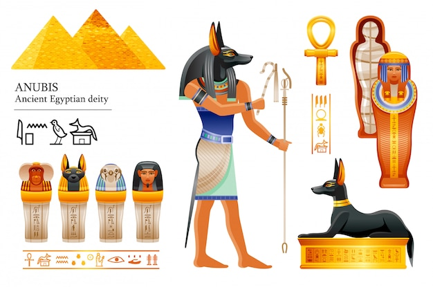 Ancient egyptian god anubis icon set. canine head deity of death, mummification, afterlife. mummy, canopic jar, dog tomb.