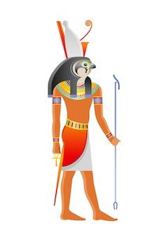 Ancient egyptian god horus. deity with falcon head and pharaoh crown. cartoon illustration in old art style.