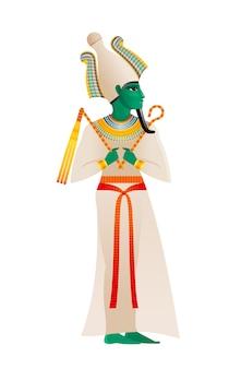 古代エジプトの神。オシリス神、アテフクラウンと緑の肌の死と再生の領主。古いアートスタイルの漫画イラスト。