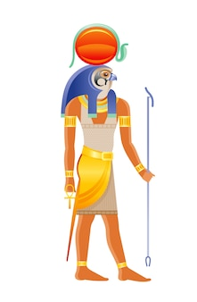 Ancient egyptian god ra. deity of the sun with falcon head, sun disk cobra decoration. cartoon  illustration in old art style.