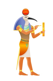 Ancient egyptian god thoth. deity with ibis head. cartoon illustration in old art style.