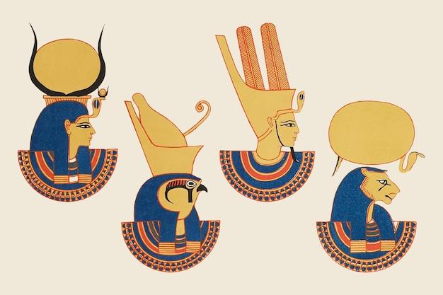 Pacchetto vettoriale di divinità e dee dell'antico egitto