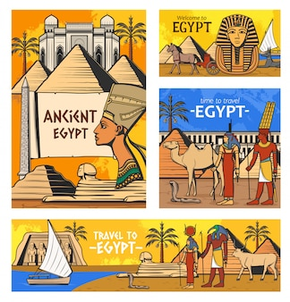 Ancient egyptian gods and pyramids