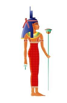 古代エジプトの主要な女神イシス。オシリスの妻、神イシス。古いアートスタイルの漫画イラスト。