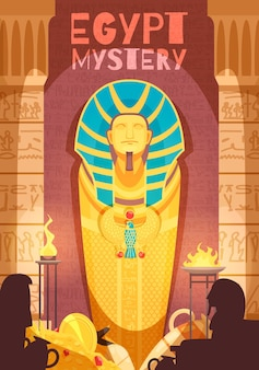 Ancient egyptian mummy mystery exhibit illustration with grave goods golden amulets ritual fire deities silhouettes