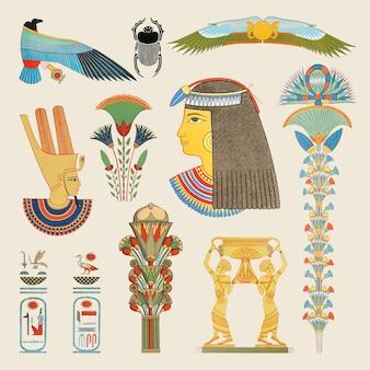 고대 이집트 장식 벡터 요소 그림