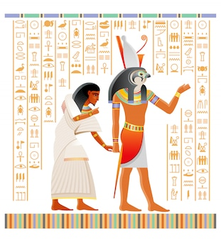 Ancient egyptian papyrus from book of dead with afterlife ritual in duat. god horus with falcon head holding human soul.