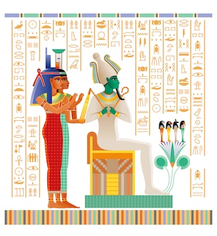 Ancient egyptian papyrus from book of dead with afterlife ritual in duat. god osiris, goddesses isis and nephthys.