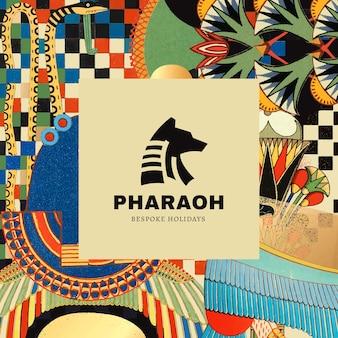 Шаблон древнеегипетского шаблона для брендинга логотипа, переработанный из произведений искусства, являющихся общественным достоянием