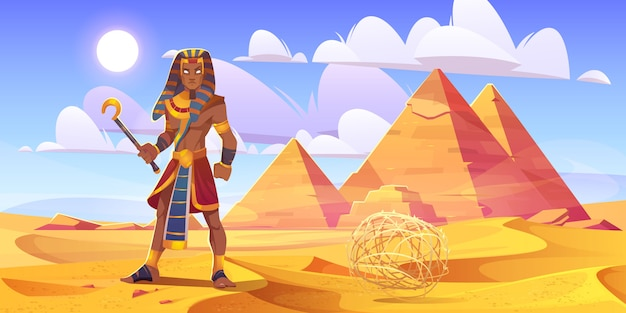 Ancient egyptian pharaoh with rod in desert with pyramids. vector cartoon illustration of landscape with yellow sand dunes, pharaoh tombs, figure of king of egypt and tumbleweed
