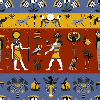 Ancient egyptian religion seamless pattern
