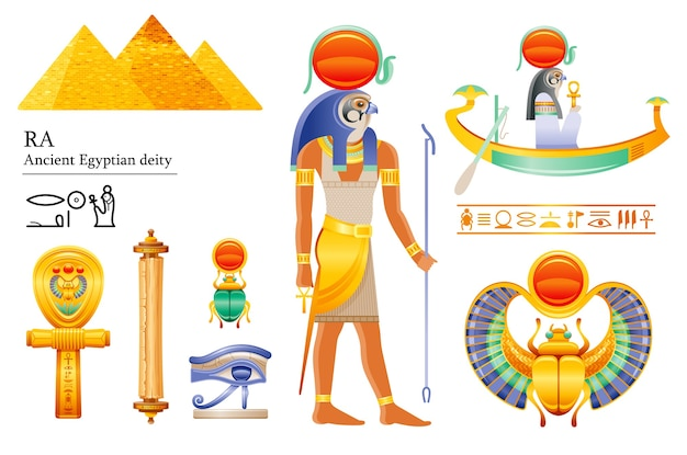 Ancient egyptian sun god ra icon set. falcon sun deity, solar disk, barque, scarab, papyrus scroll, ankh, eye. 3d cartoon illustration.