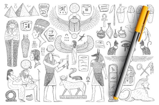 고대 이집트 상징 낙서 세트. 손으로 그린 피라미드, 파라오, 성직자, 고립 된 종교적 징후의 컬렉션입니다.