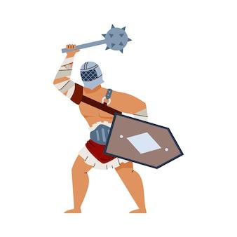 고대 유럽 검투사 또는 전사 평면 벡터 일러스트 절연