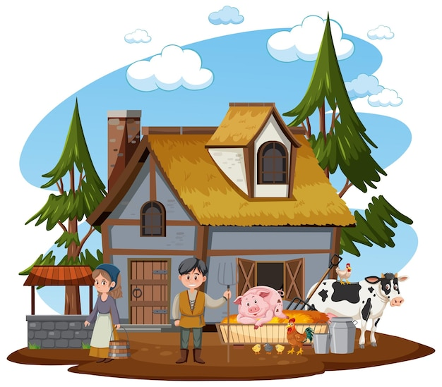 Ancient farmhouse with people on white background
