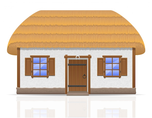 Ancient farmhouse with a thatched roof vector illustration