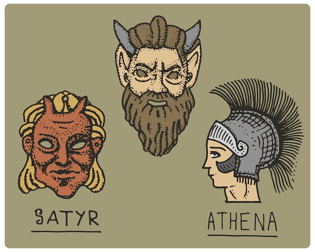 Древняя греция, античные символы, профиль афины и лицо сатира, гравированная рука, нарисованная в стиле эскиза или дерева, старый ретро