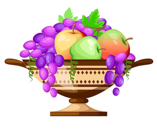Питьевая чашка kylix древней греции. цилиндр старинной винной чашки с узорами. чашка с яблоками и виноградом. значок греческой керамики. иллюстрация на белом фоне.