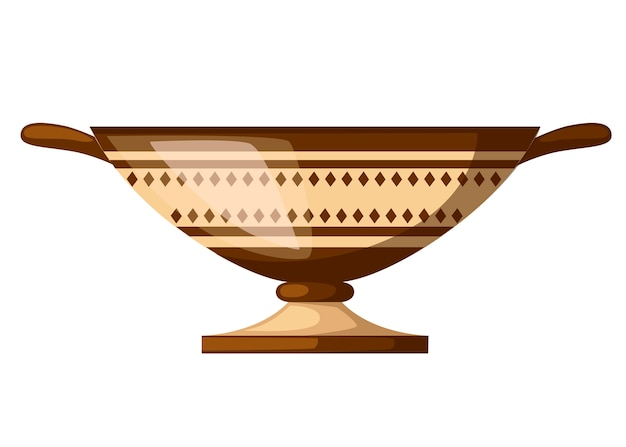 Ancient greece kylix drinking cup. ancient wine cup cylix with patterns. greek pottery icon. flat illustration isolated on white background.