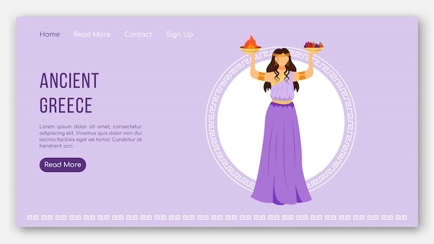 Ancient greece landing page  template. greek pantheon gods. mythology website interface idea with  illustrations. homepage layout, web , webpage cartoon concept
