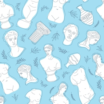 Ancient greece and rome set tradition and culture seamless pattern