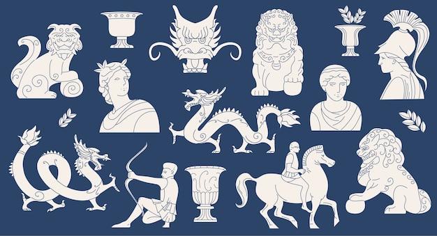 Коллекция древнегреческих и азиатских статуй в простом плоском дизайне