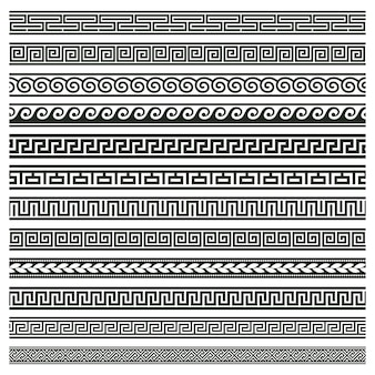 Ancient greek borders. greek roman meander and wave decorative seamless patterns illustration set