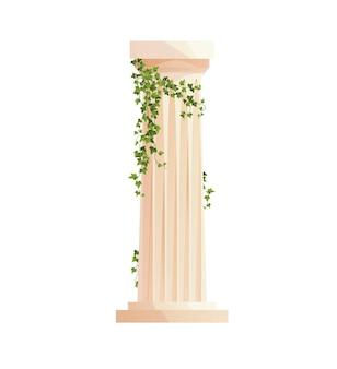 담쟁이덩굴 등반 가지가 있는 고대 그리스 기둥 로마 기둥 건물 디자인 요소
