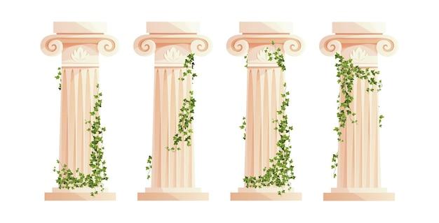 Ancient greek column with ivy climbing branches roman pillar building design elements