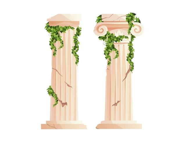 담쟁이덩굴이 있는 고대 그리스 기둥 로마 기둥 프리미엄 벡터