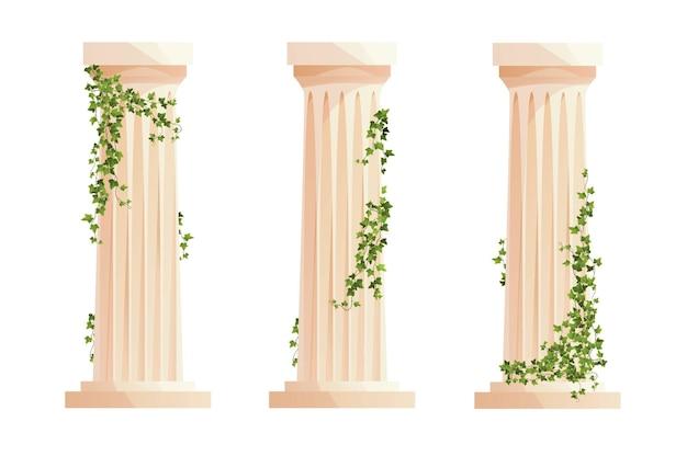 담쟁이덩굴이 있는 고대 그리스 기둥 로마 기둥