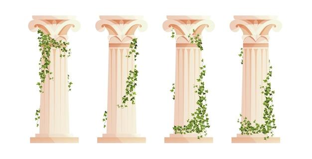 담쟁이덩굴 등반 가지가 있는 고대 그리스 기둥