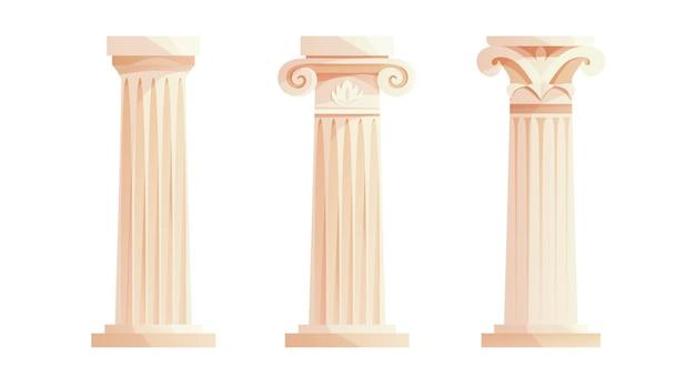 고대 그리스 기둥 로마 기둥 건물 디자인 요소 및 장식 프리미엄 벡터