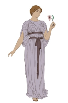 An ancient greek girl in a tunic with a flower in her hand.