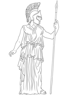 Ancient greek goddess pallas athena in a helmet with a spear