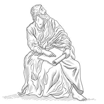 고대 그리스 노인 철학자 세이지가 파피루스를 손에 들고 앉는다.