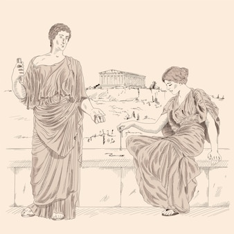 An ancient greek poet recites poetry to a woman sitting on a stone parapet against of the landscape of the city of athens.