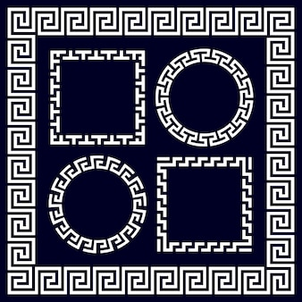 Ancient greek round and rectangular border frames