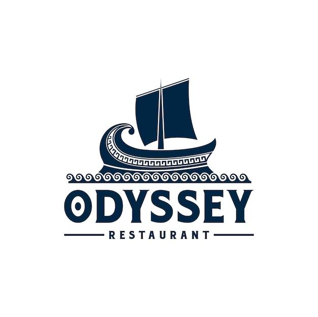 古代ギリシャの船のロゴのインスピレーション波セーリングレストラン