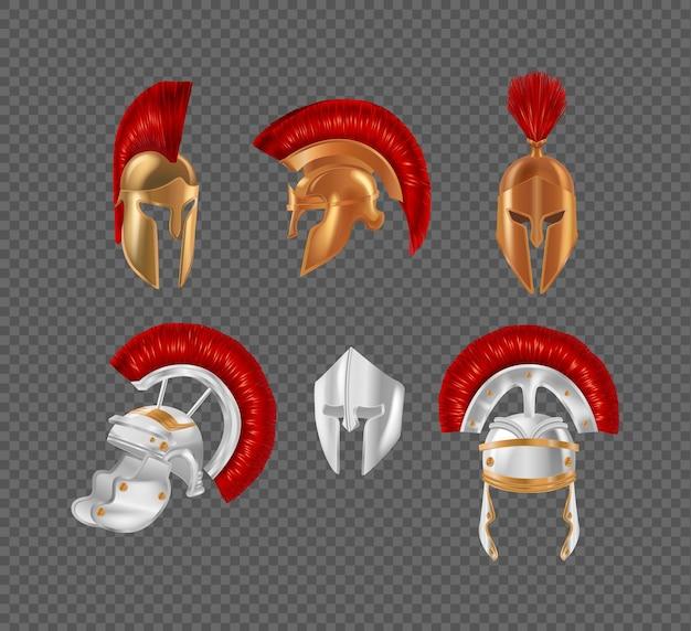 古代ギリシャの戦士のヘルメットセット。スパルタアンティークブロンズ保護ヘッドギア。伝統的なローマの金属製の頭の安全戦争の制服は赤いブラシで飾られました。軍の剣闘士の戦いの衣装の現実的なベクトル