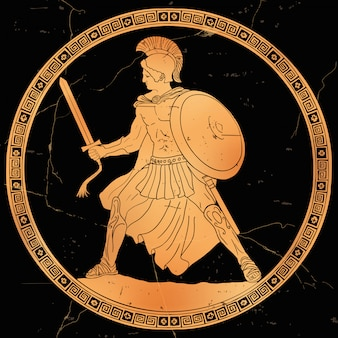 Ancient greek warrior with a sword and a shield in his hands in battle.